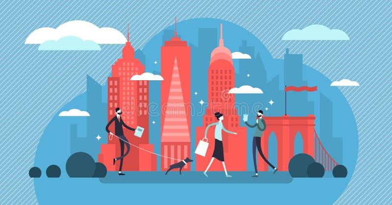 Иллюстрация вектора Нью-Йорка Метрополия Манхэттена для путешествия культуры туризма иллюстрация вектора