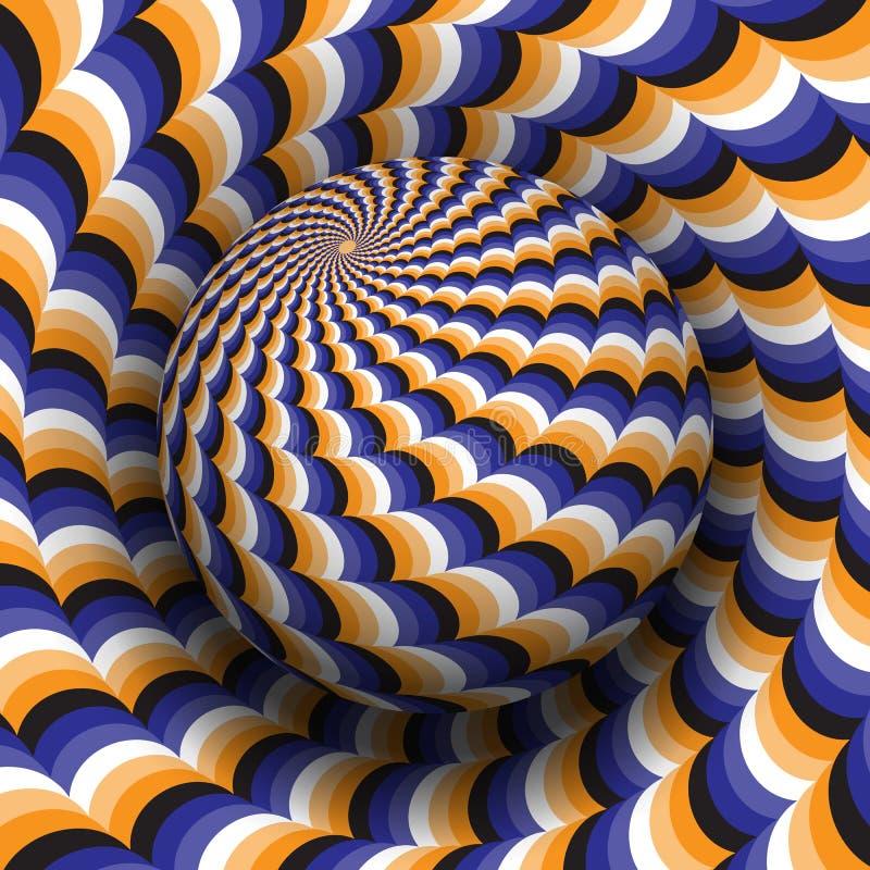 Иллюстрация вектора обмана зрения Голубая оранжевая белая черная сделанная по образцу сфера парящая над такой же поверхностью бесплатная иллюстрация