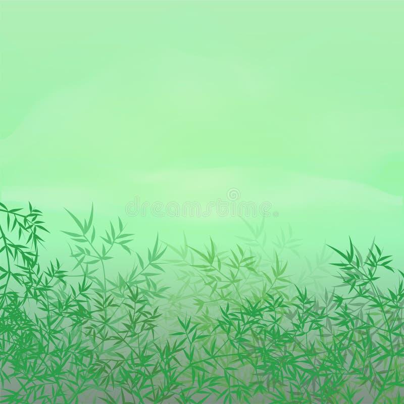 Иллюстрация вектора обоев китайской или японской бамбуковой травы восточная Тропическая азиатская предпосылка завода иллюстрация вектора