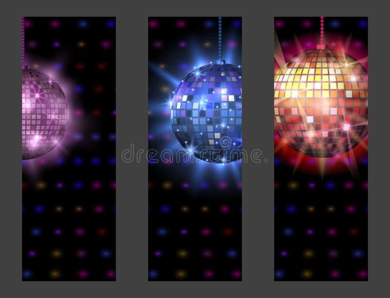 Иллюстрация вектора оборудования танца ночного клуба партии музыки карточки discotheque шарика диско иллюстрация штока