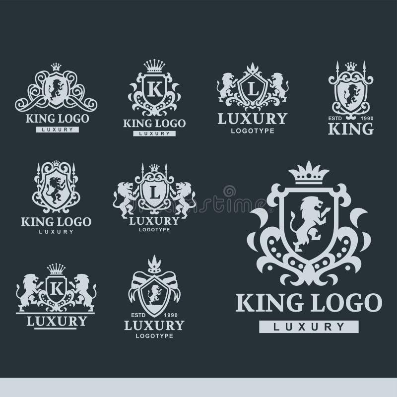 Иллюстрация вектора образа бренда собрания логотипа геральдики продукта роскошного гребня бутика королевского высококачественная  иллюстрация вектора