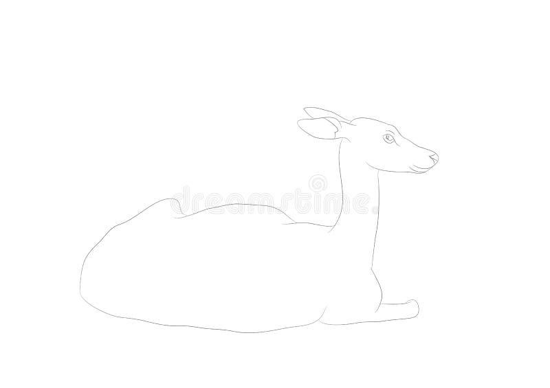 Иллюстрация вектора оленя который лежит, рисуя линии, вектор бесплатная иллюстрация