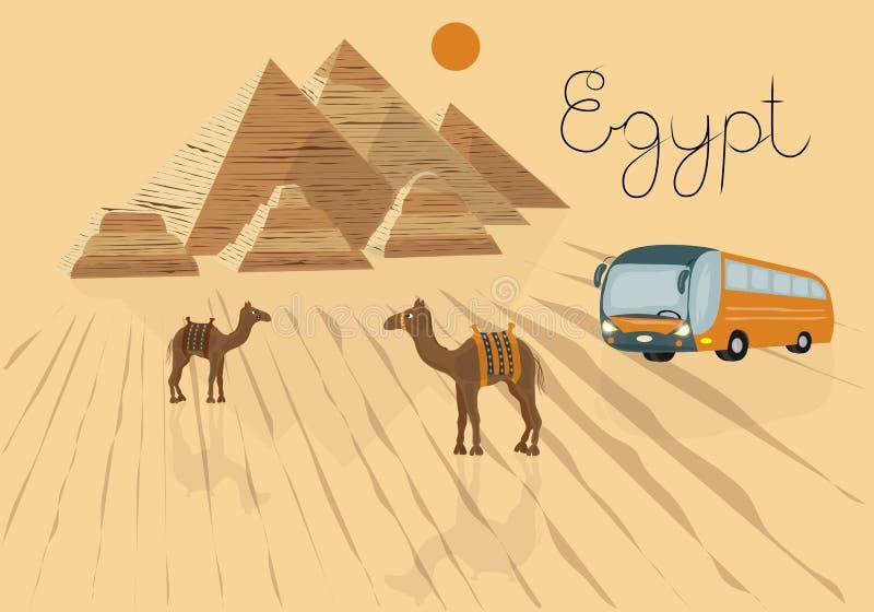 Иллюстрация вектора отключения к Египту Разрекламировать путешествие в турагентстве Каир, пирамиды, верблюды в пустыне иллюстрация вектора