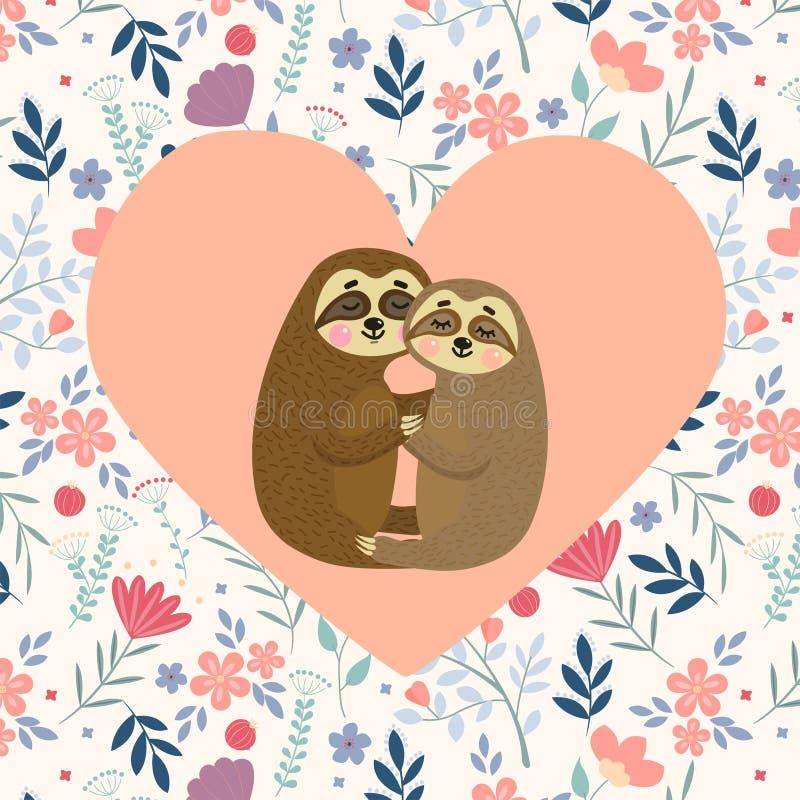 Иллюстрация вектора открытки лени любов Карта дня Валентайн с милыми ленями мультфильма в любов Счастливые пары животного бесплатная иллюстрация