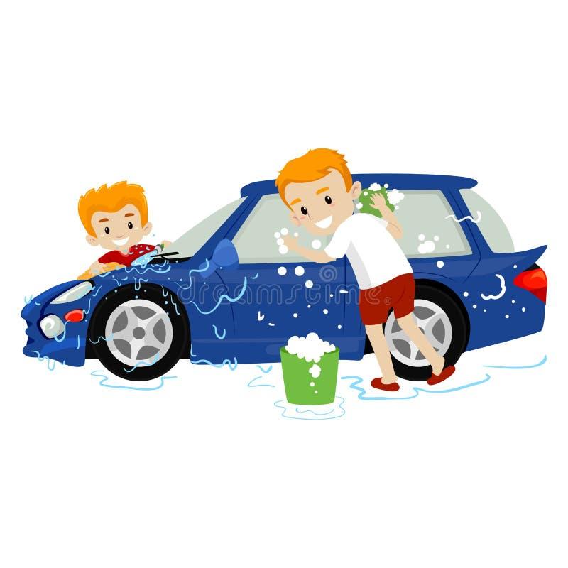 Иллюстрация вектора отца и сына моя автомобиль бесплатная иллюстрация
