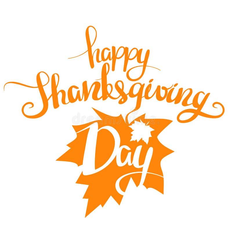 Иллюстрация вектора: Официальный праздник в США в память первых колонистов Массачусетса оранжевой рукописной литерности счастливо бесплатная иллюстрация