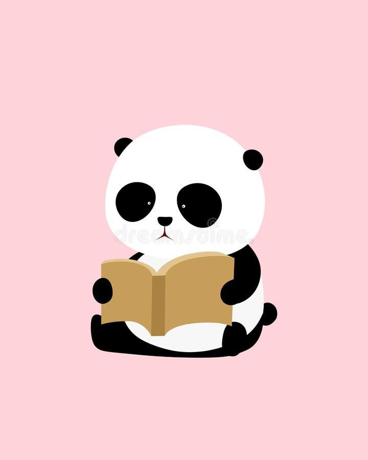 Иллюстрация вектора: Панда милого шаржа гигантская сидит на том основании, читающ книгу иллюстрация штока