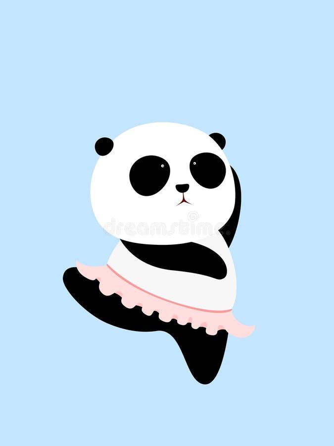 Иллюстрация вектора: Панда шаржа гигантская пробует держать баланс на одной ноге в танце балета, нося розовую юбку балета иллюстрация штока