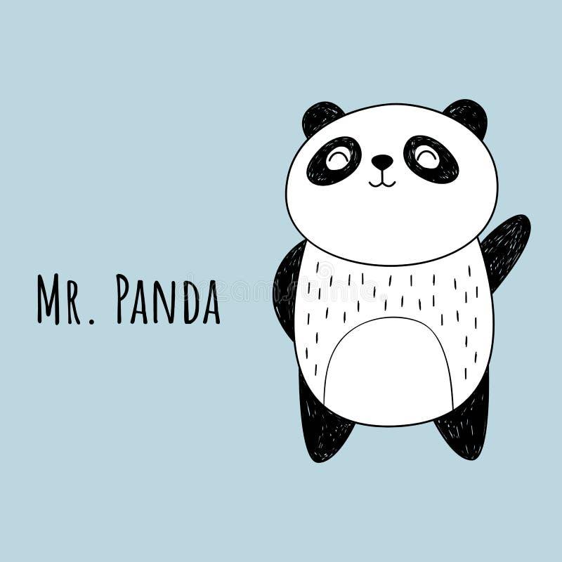 Иллюстрация вектора панды Стиль шаржа Рисовать вручную бесплатная иллюстрация