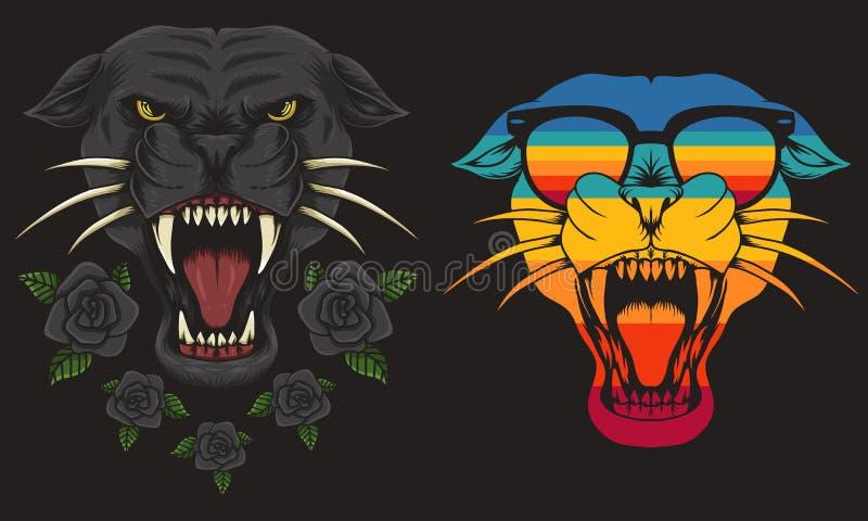 Иллюстрация вектора пантеры крутая ретро стоковая фотография rf