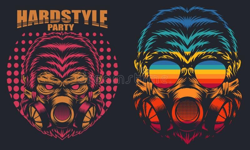 Иллюстрация вектора партии маски гориллы ретро трудная стоковые изображения rf