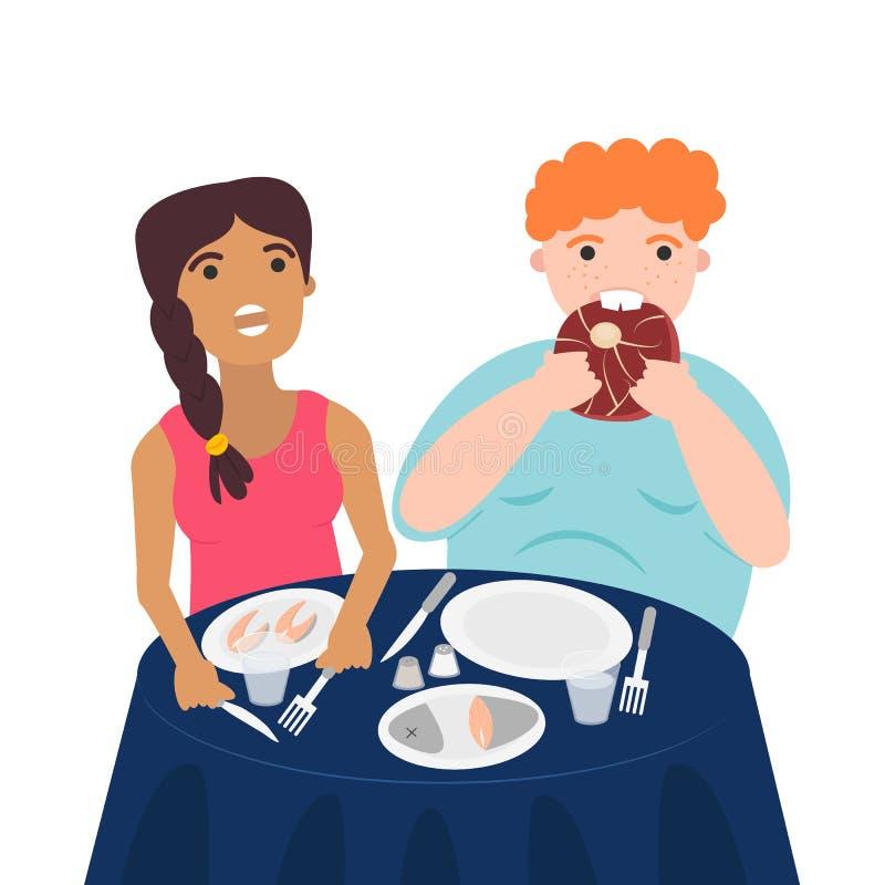 Иллюстрация вектора пар ест мясо и рыб бесплатная иллюстрация