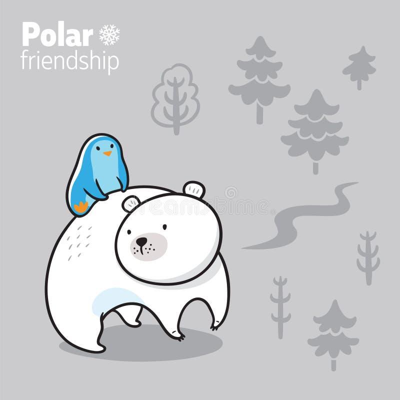 Иллюстрация вектора пингвина kawaii смешного ехать полярный медведь иллюстрация вектора