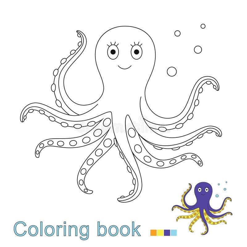 Иллюстрация вектора плавая осьминога для книжка-раскраски иллюстрация штока
