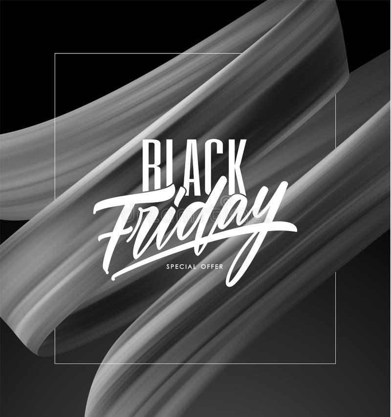 Иллюстрация вектора: Плакат продажи с типом составом литерности черных пятницы и brushstroke переплел жидкостную форму иллюстрация вектора