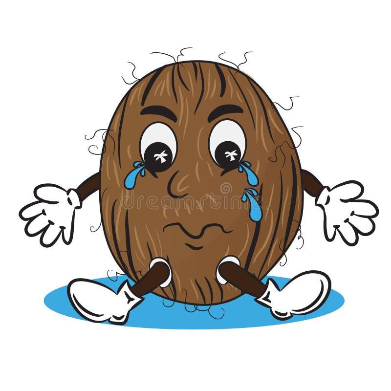 Иллюстрация вектора плача кокоса иллюстрация штока