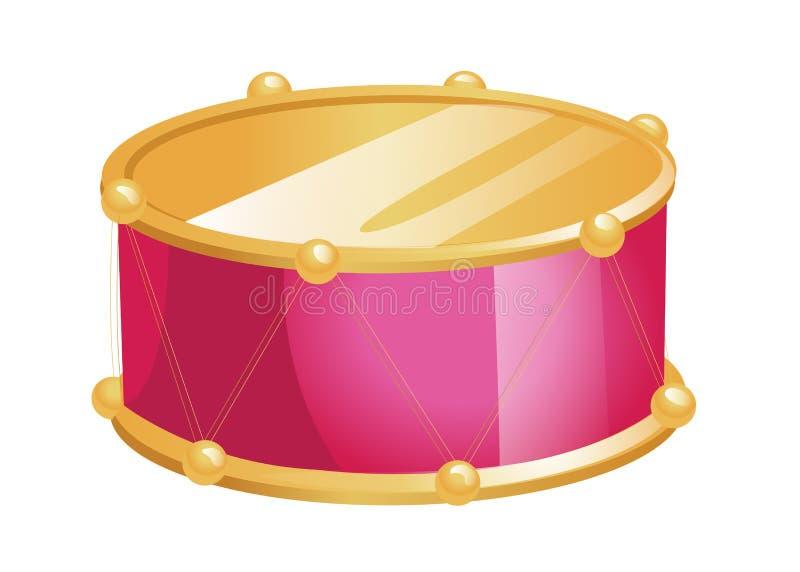 Иллюстрация вектора плоского барабанчика игрушки изолированного на белой предпосылке Музыкальный инструмент выстукивания детей иллюстрация вектора