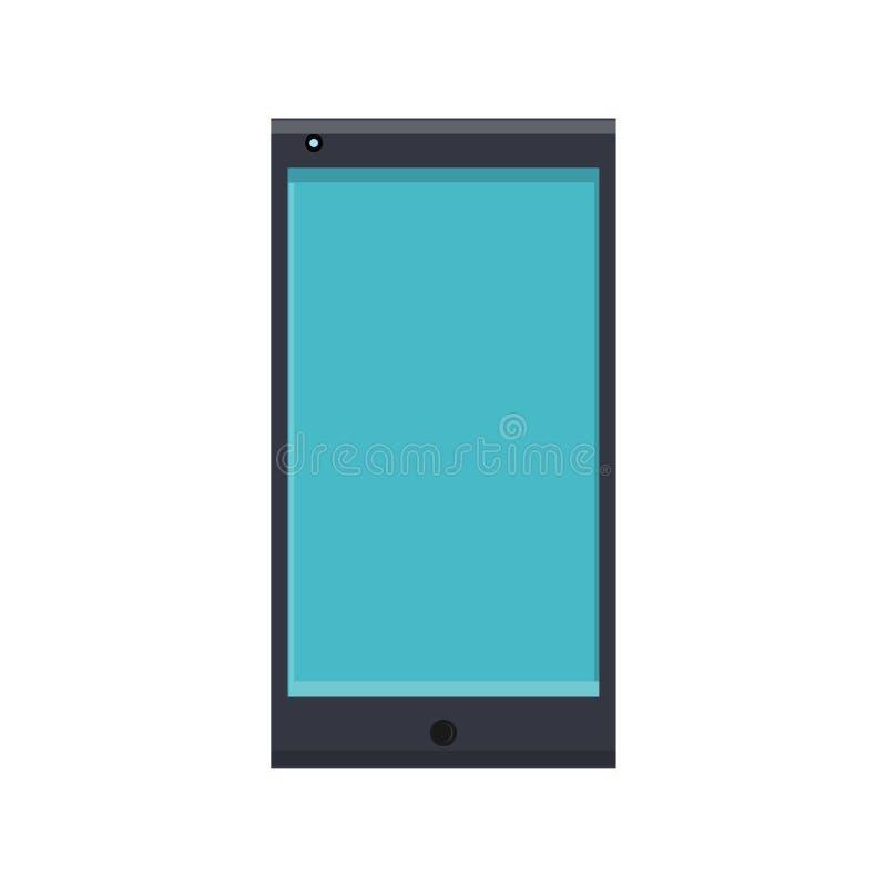 Иллюстрация вектора плоского значка современного цифрового цифрового прямоугольного мобильного телефона смартфона с изолированный иллюстрация штока