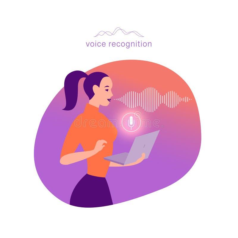 Иллюстрация вектора плоско личная онлайн ассистентская Девушка офиса с значком микрофона компьтер-книжки динамическим, звуковыми  бесплатная иллюстрация