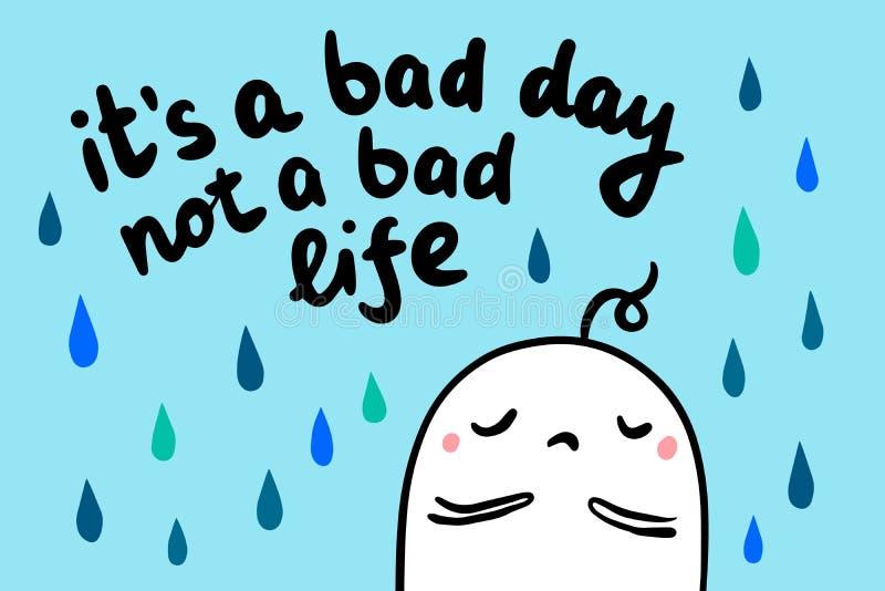 Иллюстрация вектора плохой руки жизни дня не вычерченная в стиле мультфильма Разрывы идут дождь расстроенный человек бесплатная иллюстрация