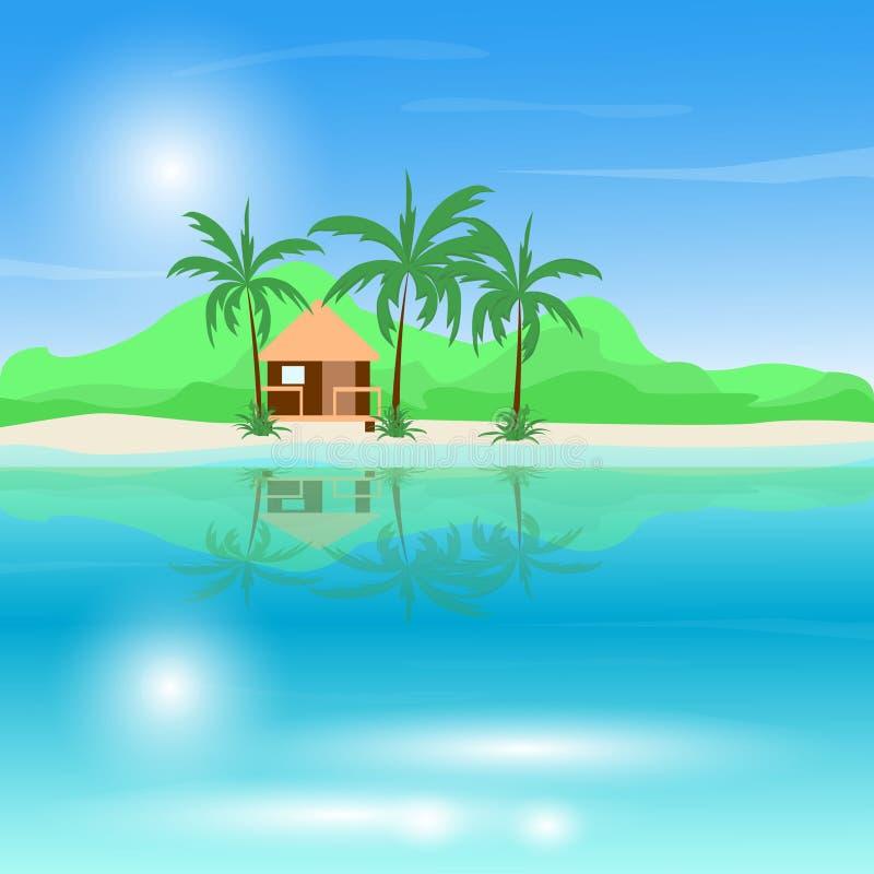 Иллюстрация вектора пляжа моря с бунгало Красивые малые виллы на взморье океана Ландшафт лета, концепция каникул внутри иллюстрация штока