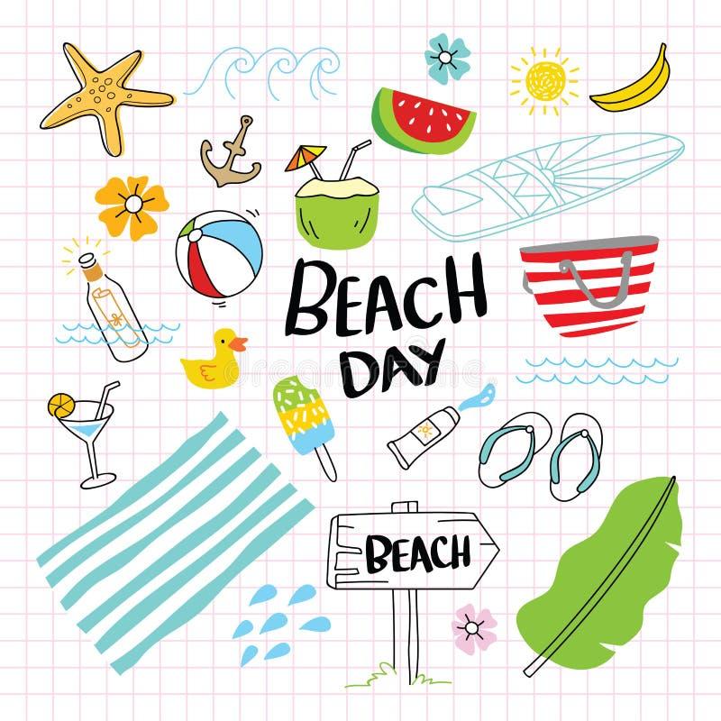 Иллюстрация вектора пляжа Doodle иллюстрация штока
