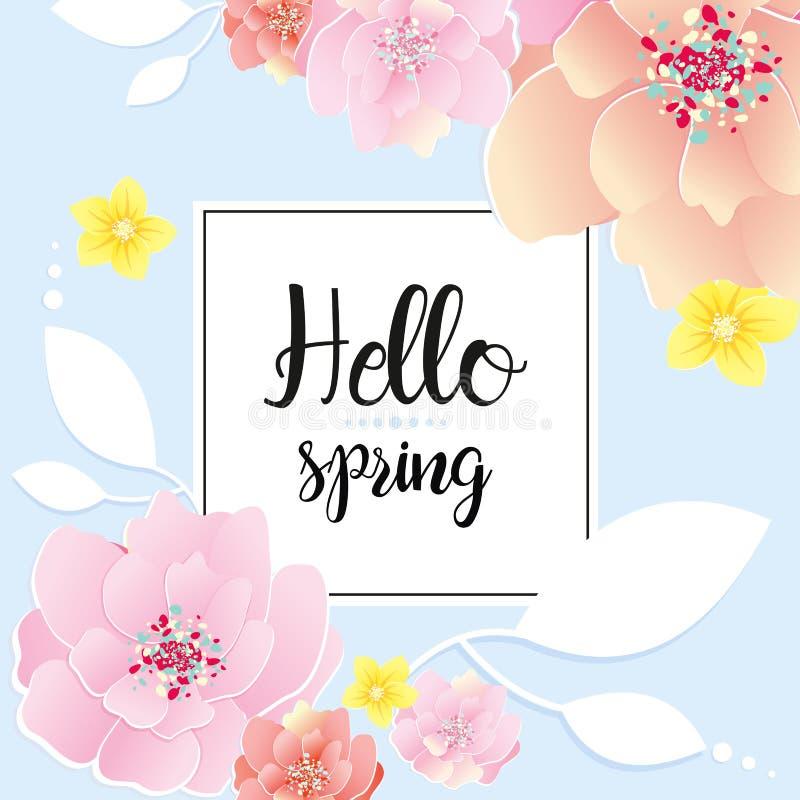 Иллюстрация вектора поздравительной открытки весны Здравствуйте! текст весны Будьте матерью концепции поздравительной открытки дн бесплатная иллюстрация