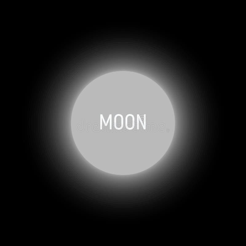 Иллюстрация вектора полнолуния абстрактная Светящий круг, шаблон логотипа Форма нерезкости круглая белая на черной предпосылке иллюстрация вектора