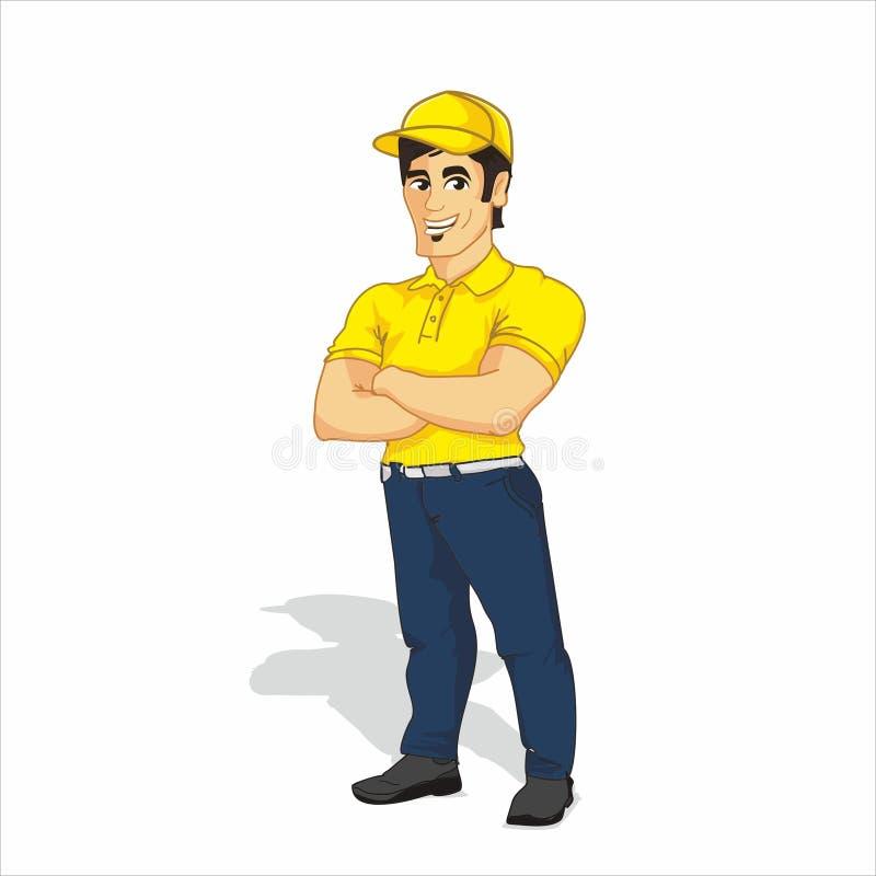 Иллюстрация вектора положения работника доставляющего покупки на дом иллюстрация штока