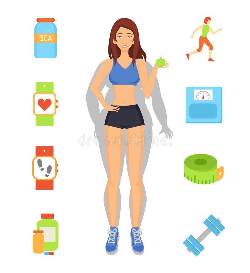 Иллюстрация вектора потери веса спорта и диеты иллюстрация штока