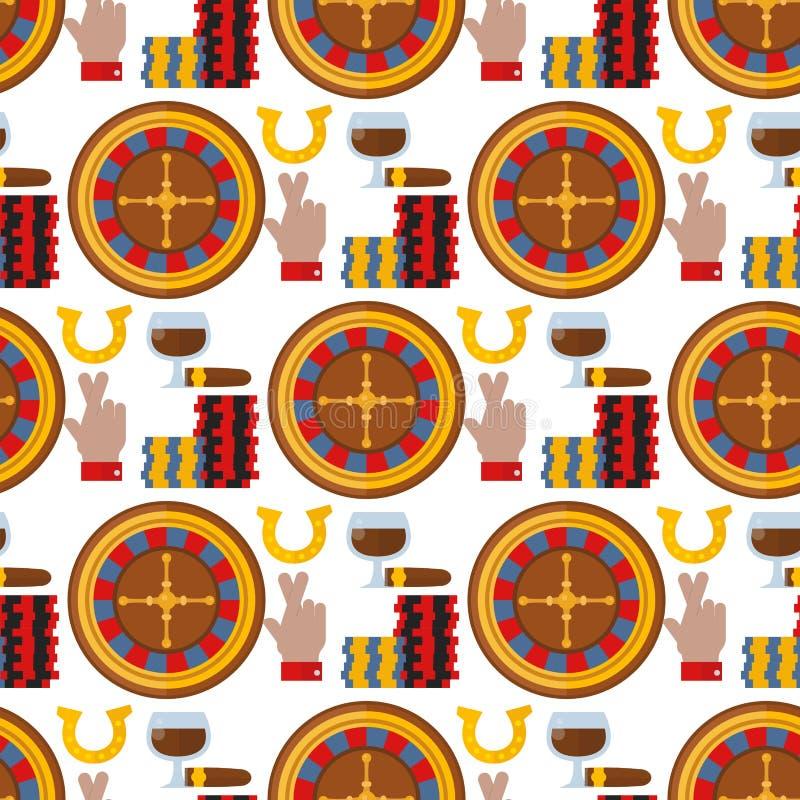 Иллюстрация вектора предпосылки картины игры в покер торгового автомата шутника картежника рулетки казино безшовная иллюстрация вектора