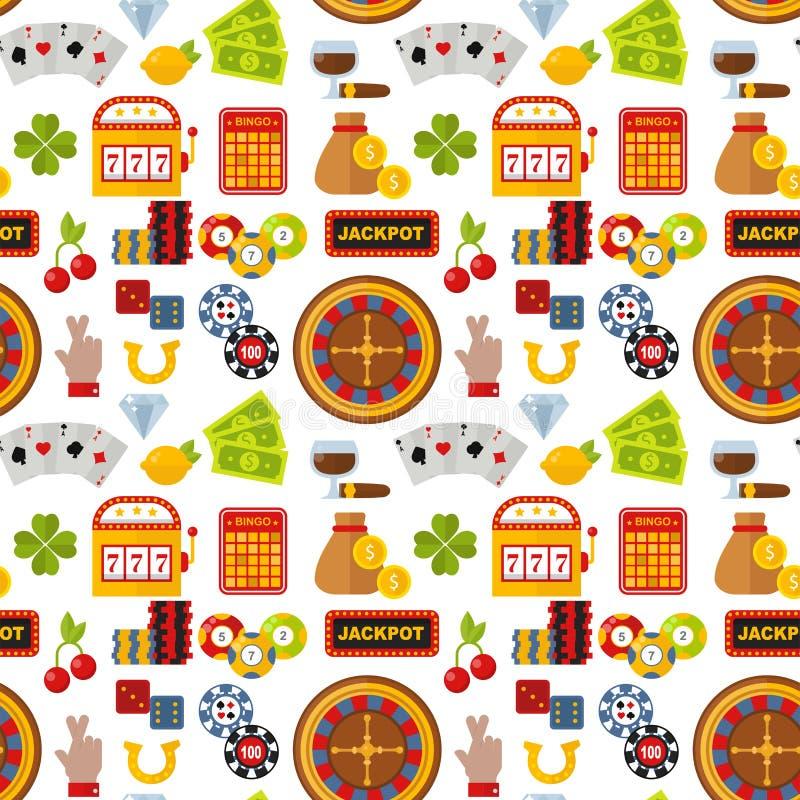 Иллюстрация вектора предпосылки картины игры в покер торгового автомата шутника картежника рулетки казино безшовная бесплатная иллюстрация