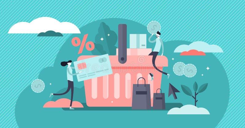 Иллюстрация вектора приобретения Крошечная концепция людей продуктов покупки клиента бесплатная иллюстрация