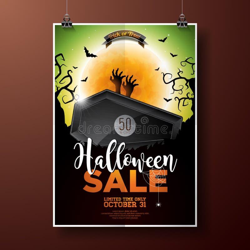 Иллюстрация вектора продажи хеллоуина с гробом, рукой зомби, летучими мышами, monn и элементами праздника на зеленой предпосылке иллюстрация вектора