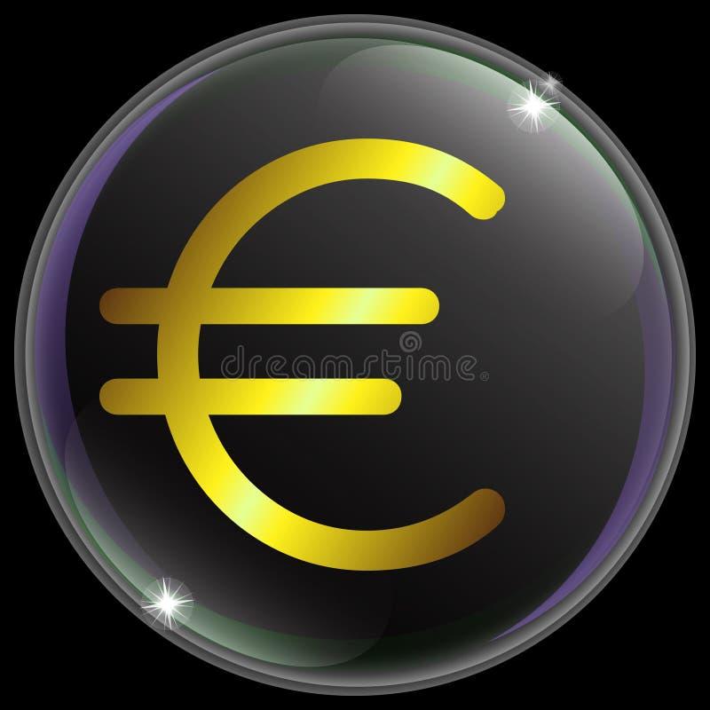 Иллюстрация вектора простых и реалистических знака или символа валюты евро с градиентом золота иллюстрация вектора