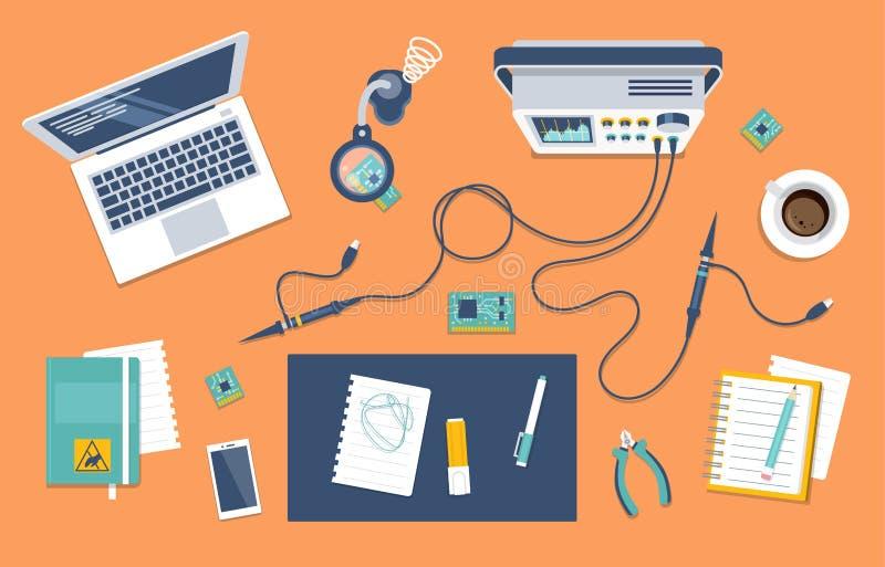 Иллюстрация вектора процесса развития оборудования Проектируйте рабочее место с компьютером, pcb, осциллографом - взгляд сверху п иллюстрация вектора