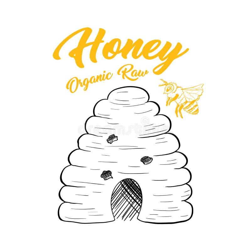 Иллюстрация вектора пчелы эскиза меда изолированная крапивницей для дизайна логотипа иллюстрация вектора