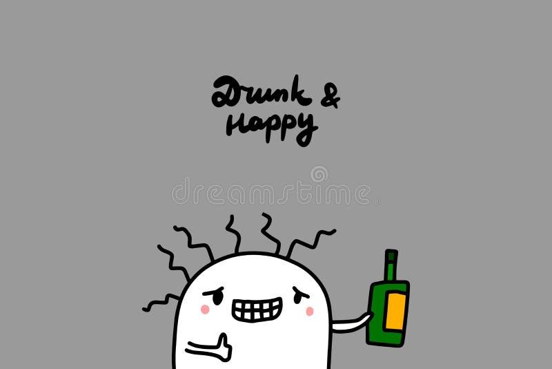 Иллюстрация вектора пьяной и счастливой руки вычерченная в стиле мультфильма Милая бутылка удерживания человека иллюстрация вектора