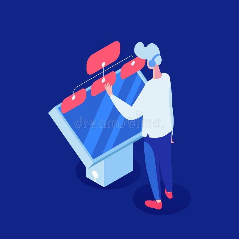 Иллюстрация вектора работы с клиентом равновеликая Оператор центра телефонного обслуживания, менеджер клиента взаимодействовать с бесплатная иллюстрация