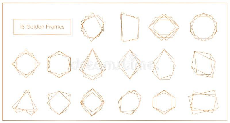 Иллюстрация вектора рамок этапов золота установила на белую предпосылку Линия собрание геометрического полиэдрона тонкая рамок иллюстрация штока