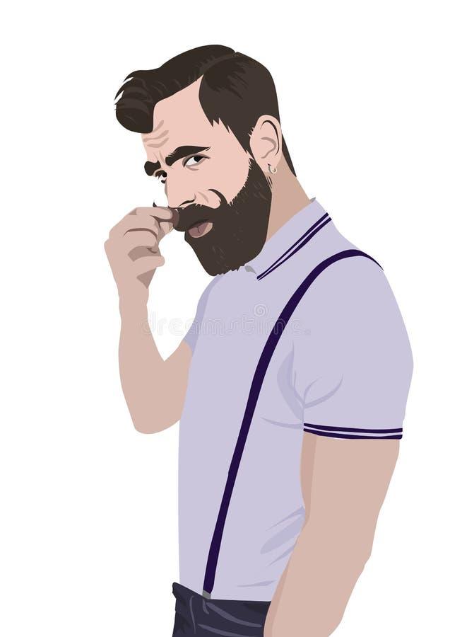 Иллюстрация вектора реалистическая бородатого человека иллюстрация штока