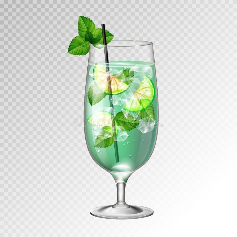 Иллюстрация вектора реалистического mojito коктейля стеклянная бесплатная иллюстрация