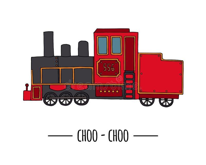 Иллюстрация вектора ретро двигателя Винтажное искусство зажима поезда иллюстрация штока