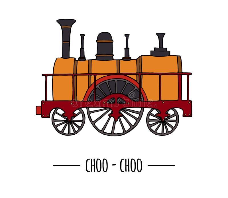 Иллюстрация вектора ретро двигателя Винтажное искусство зажима поезда иллюстрация вектора