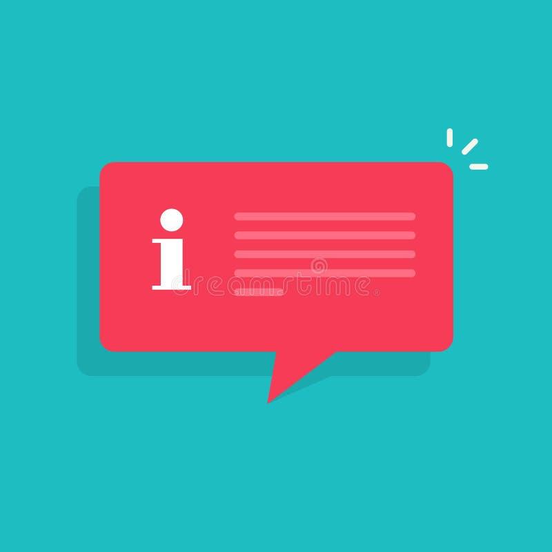 Иллюстрация вектора речи пузыря сообщения уведомления информации, плоский мультфильм изолированный знак помощи внимания информаци иллюстрация штока