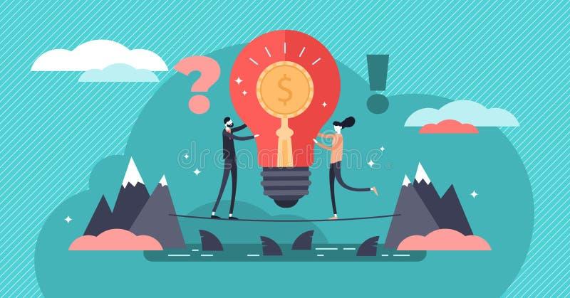 Иллюстрация вектора рискового капитала Плоская крошечная концепция людей вклада иллюстрация штока