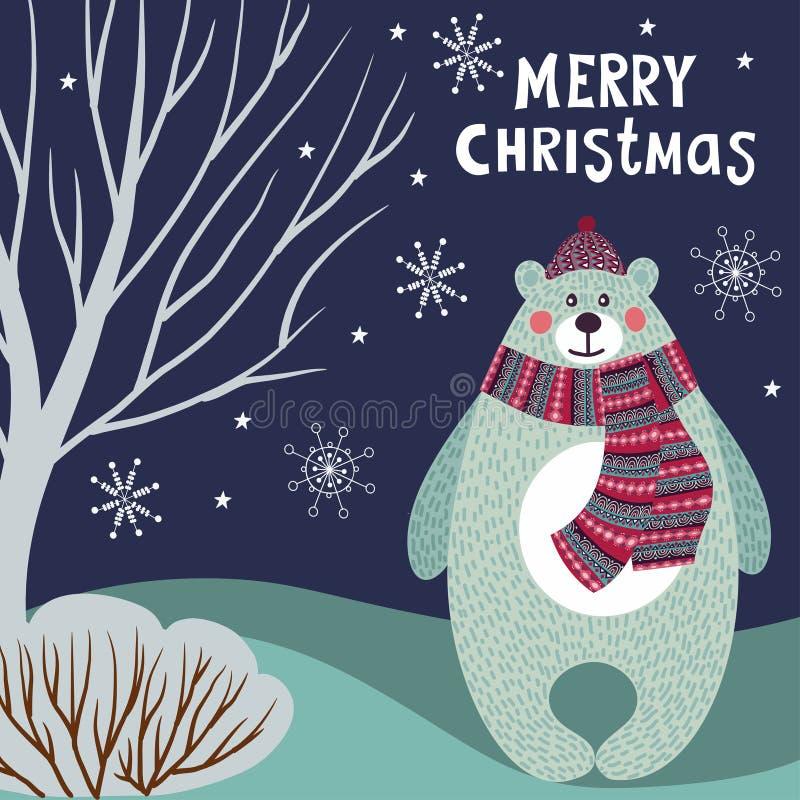 Иллюстрация вектора рождества с полярным медведем, деревьями и снежинками бесплатная иллюстрация