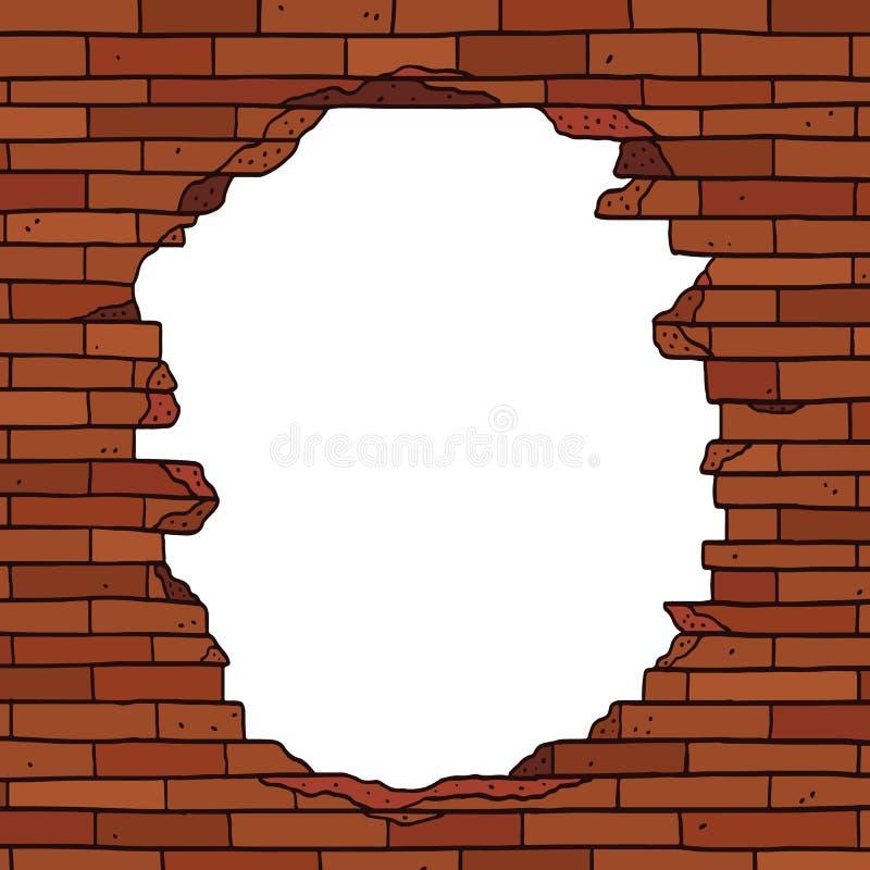 Иллюстрация вектора руки вычерченная сломленной коричневой кирпичной стены с пустым пространством для текста Пустой космос внутри стоковая фотография rf