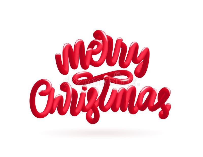 Иллюстрация вектора: Рукописная литерность красного цвета 3D каллиграфическая с Рождеством Христовым на белой предпосылке бесплатная иллюстрация