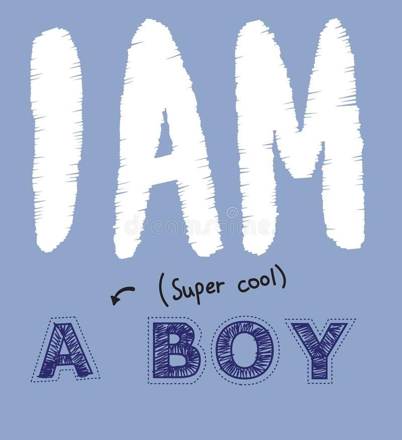 Иллюстрация вектора рукописной литерности я супер холодный изолированный мальчик, стежок, люк, вышивка, рука нарисованная имитаци иллюстрация вектора